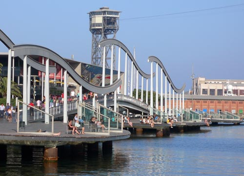 port vell in barcelona on waterfront