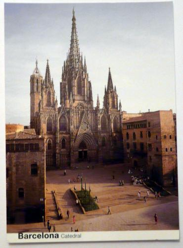 cathedral in barclona - postcard
