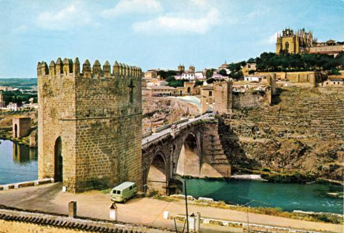 Toledo Saint Martin Bridge with the Monastery of San Juan de Los Reyes on hill