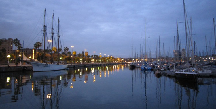 Barcelona harbor at dusk