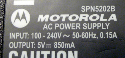 motorola power adapter label