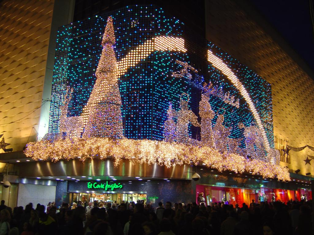 christmas light show at el corte ingl s in madrid about