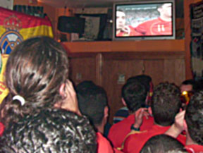 The Football Experience:  Watching the Spain-Italy Euro2008 Football Game